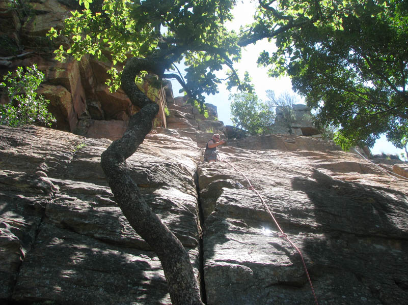 Tinus on Crouching Tiger (his 1st ever lead climb)